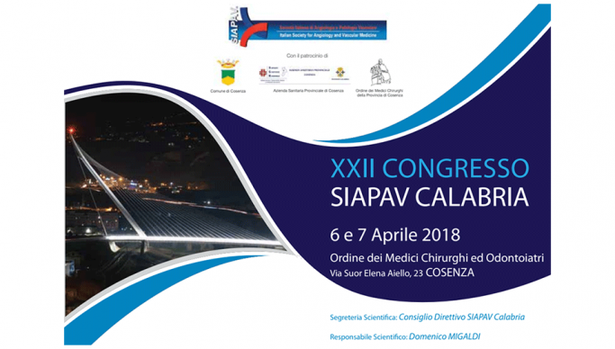 Il 6 e 7 aprile a Cosenza il XXII Congresso SIAPAV Calabria