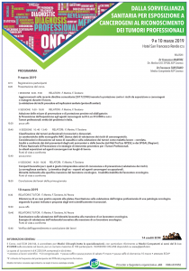 Tumori professionali, importante convegno a Cosenza il 9 e 10 marzo